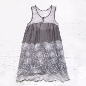 UO Kimchi Blue Silk Blend Embroidery Lace Dress
